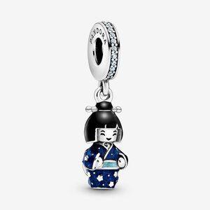 PANDORA Japanese Doll in Blue Kimono Dangle Charm